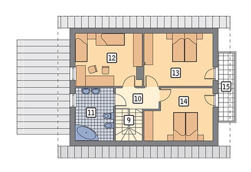 Rzut poddasza: wariant 2 POW. 69,3 m²