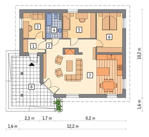Rzut parteru POW. 86,4 m²