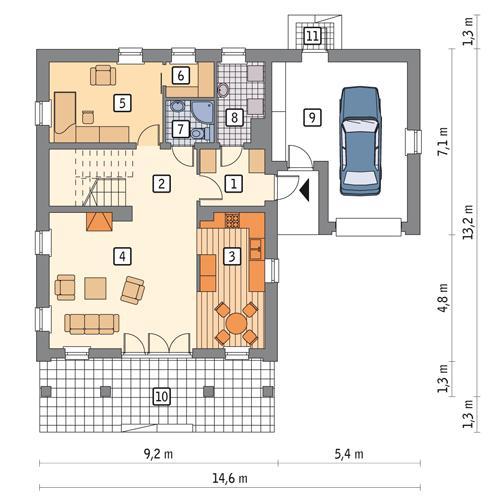 Rzut parteru POW. 107,5 m²