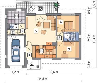 RZUT PARTERU POW. 83,7 m²