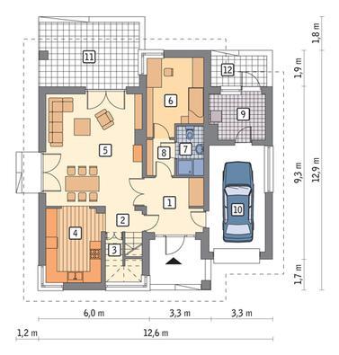 RZUT PARTERU POW. 72,7 m²